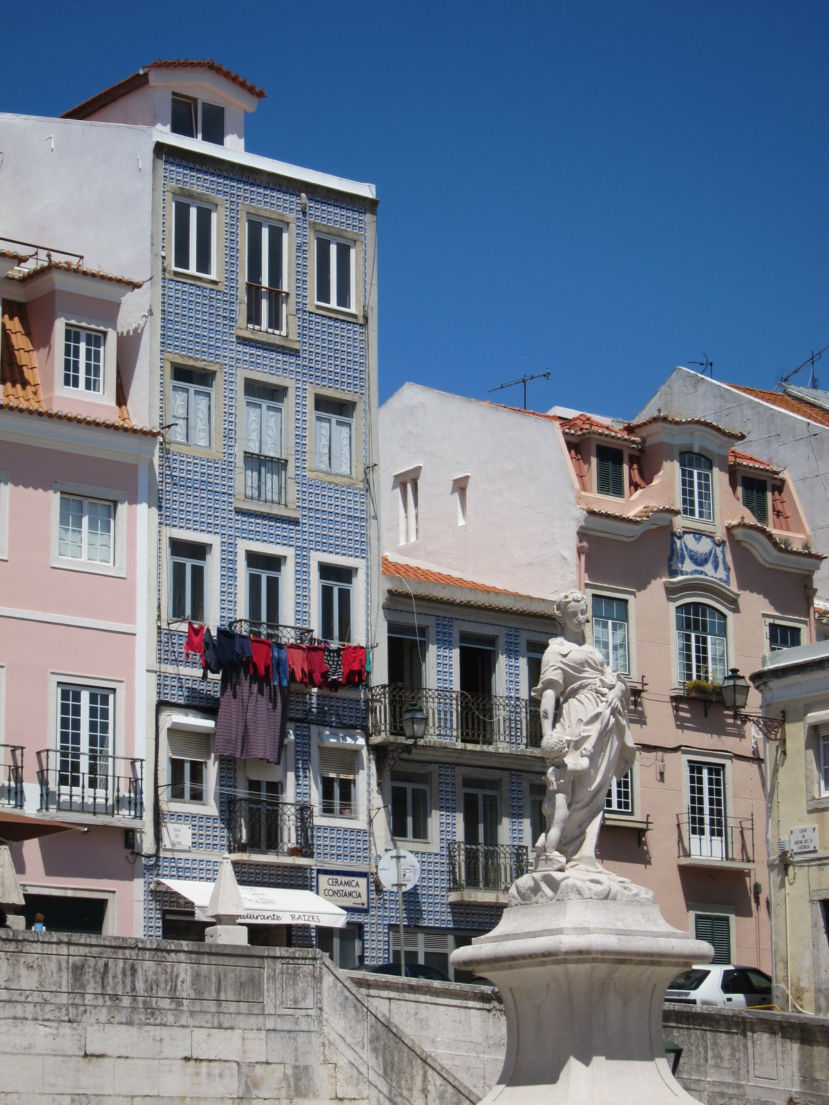 The Tiled Azulejo Lisbon  Buildings Pink and Blue