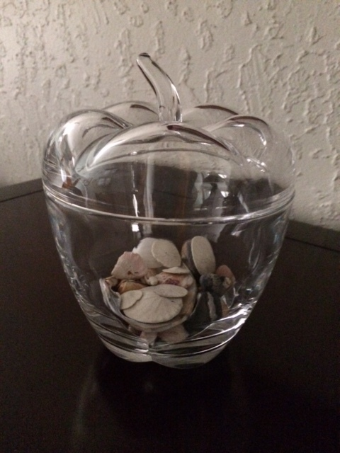 The beautiful Apple Crystal Dish gift Spirit chose for me via my sister-in-law Linda.