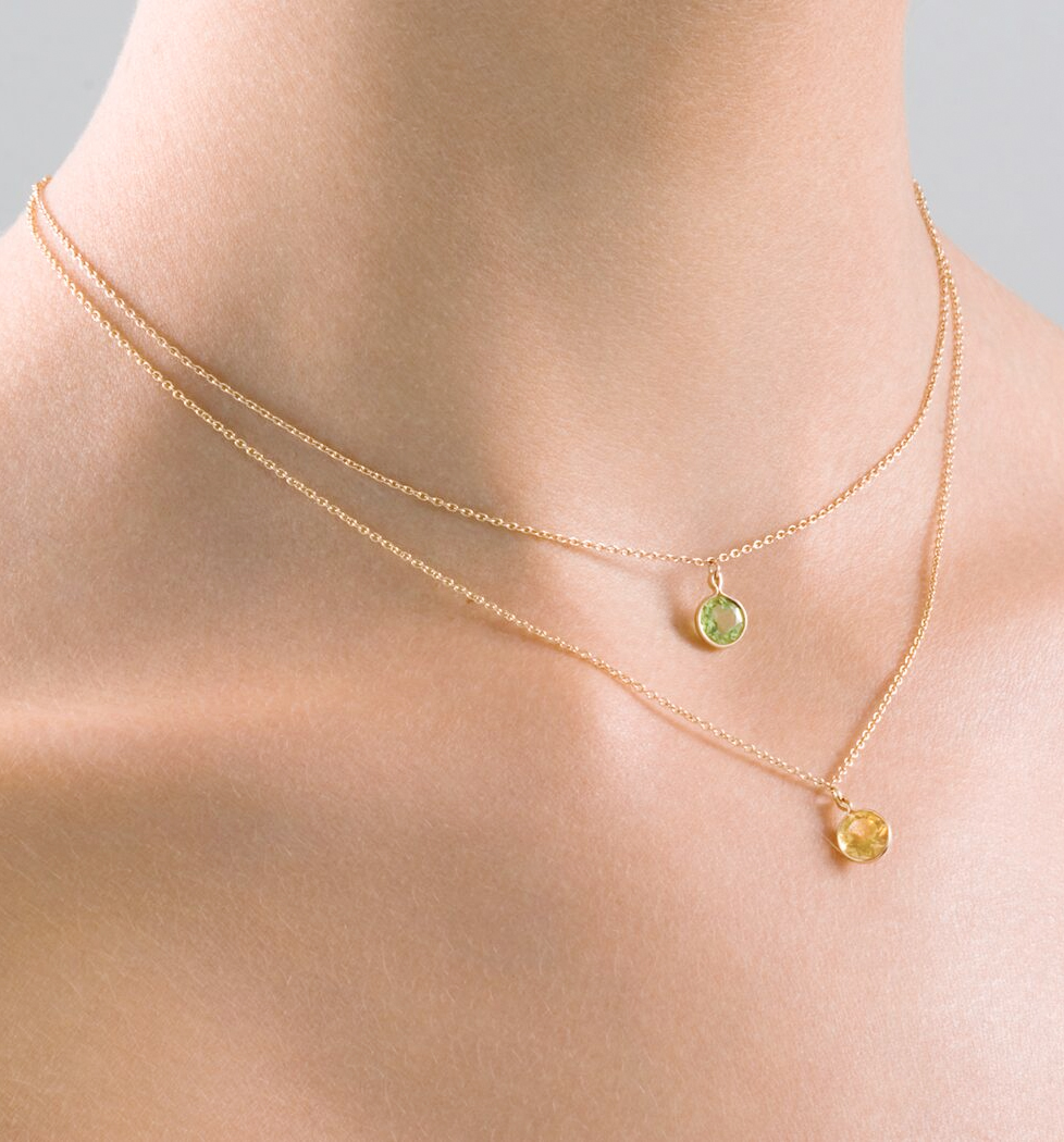 ABOVE: PERIDOT (green) and CITRINE (yellow)