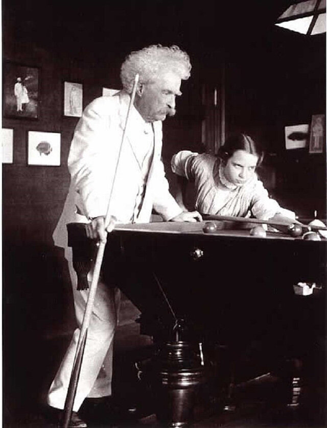 Samuel Clemens playing billiards