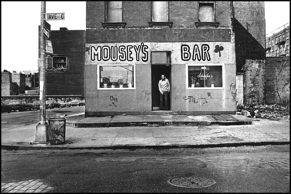 """Mousey's Bar, Avenue C & 13th St., East Village, 1976."