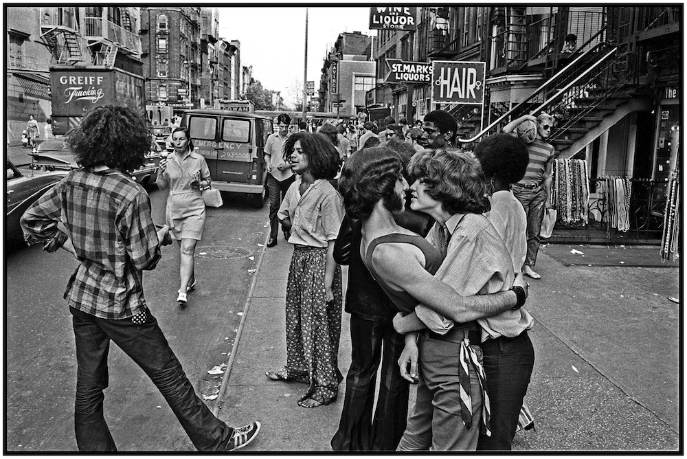 """Hippie Hangout,"" St. Mark's Place, NYC, 1968."