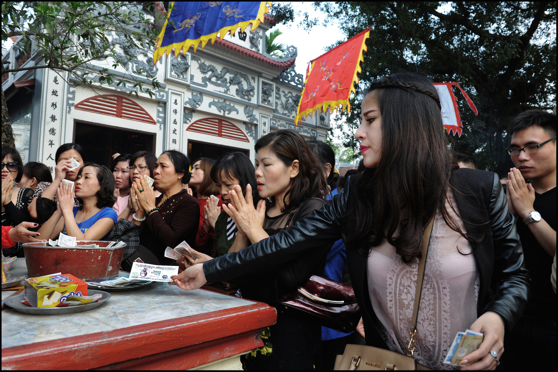 Tsaoist temple, offerings of fake money, Westlake, Hanoi, Feb 2015. #3397