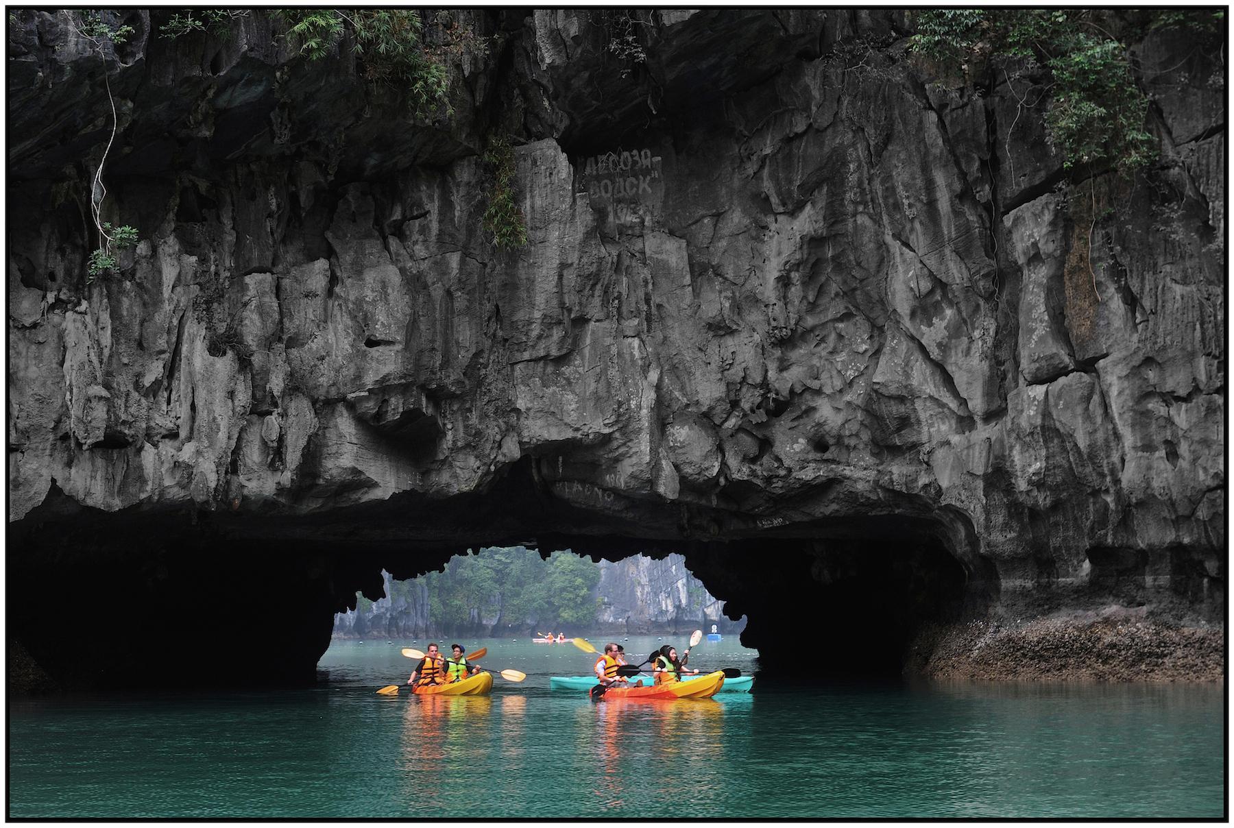 Ha Long Bay, Hang Luon (Luon Cave), limestone karst with open-air center, near Hanoi, Feb 2015. #4146