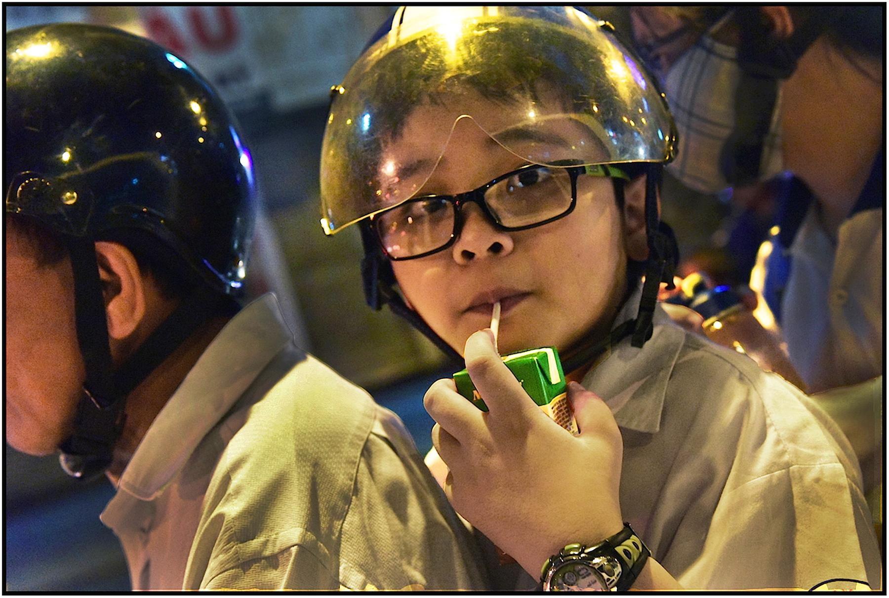 Youthful passenger on motorbike, Saigon/HCMC, Dec. 2015. #3773