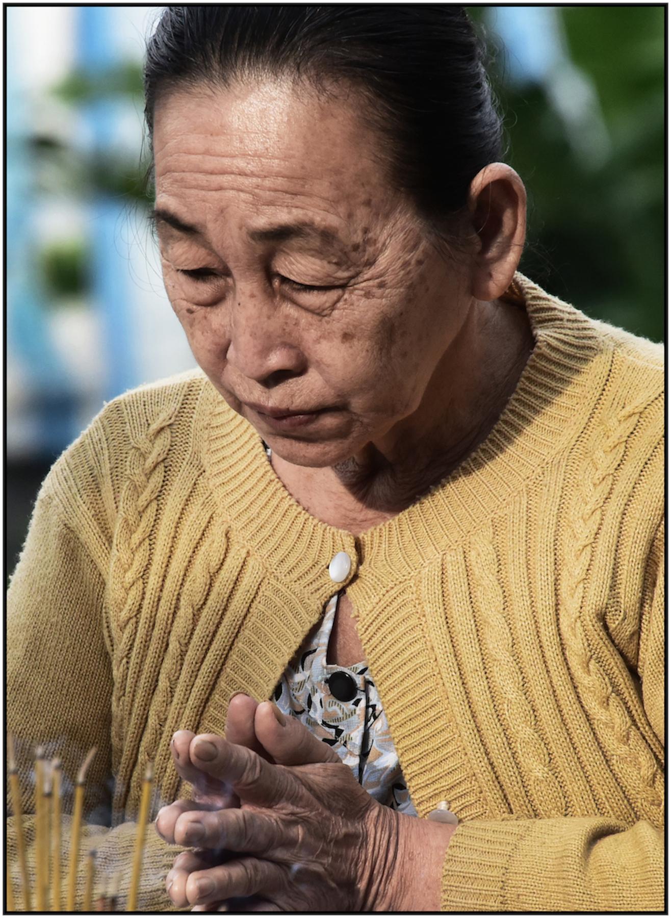 Woman prays at Ho Chi Minh shrine, Binh Tay Market, Cholon, Saigon/HCMC, Dec. 2015. #3967