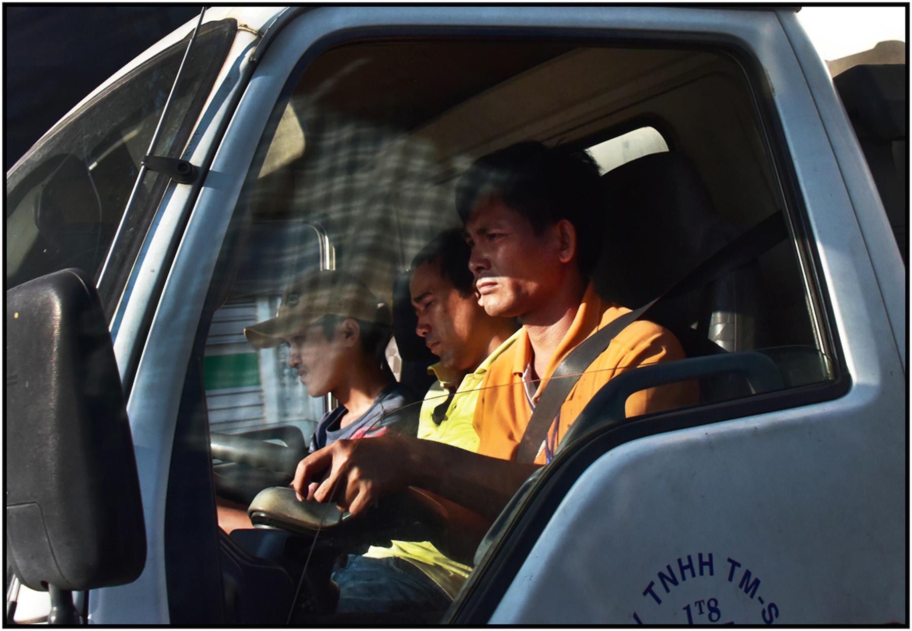 Truck drivers, near Can Tho, Mekong Delta, Jan. 2016. #8823