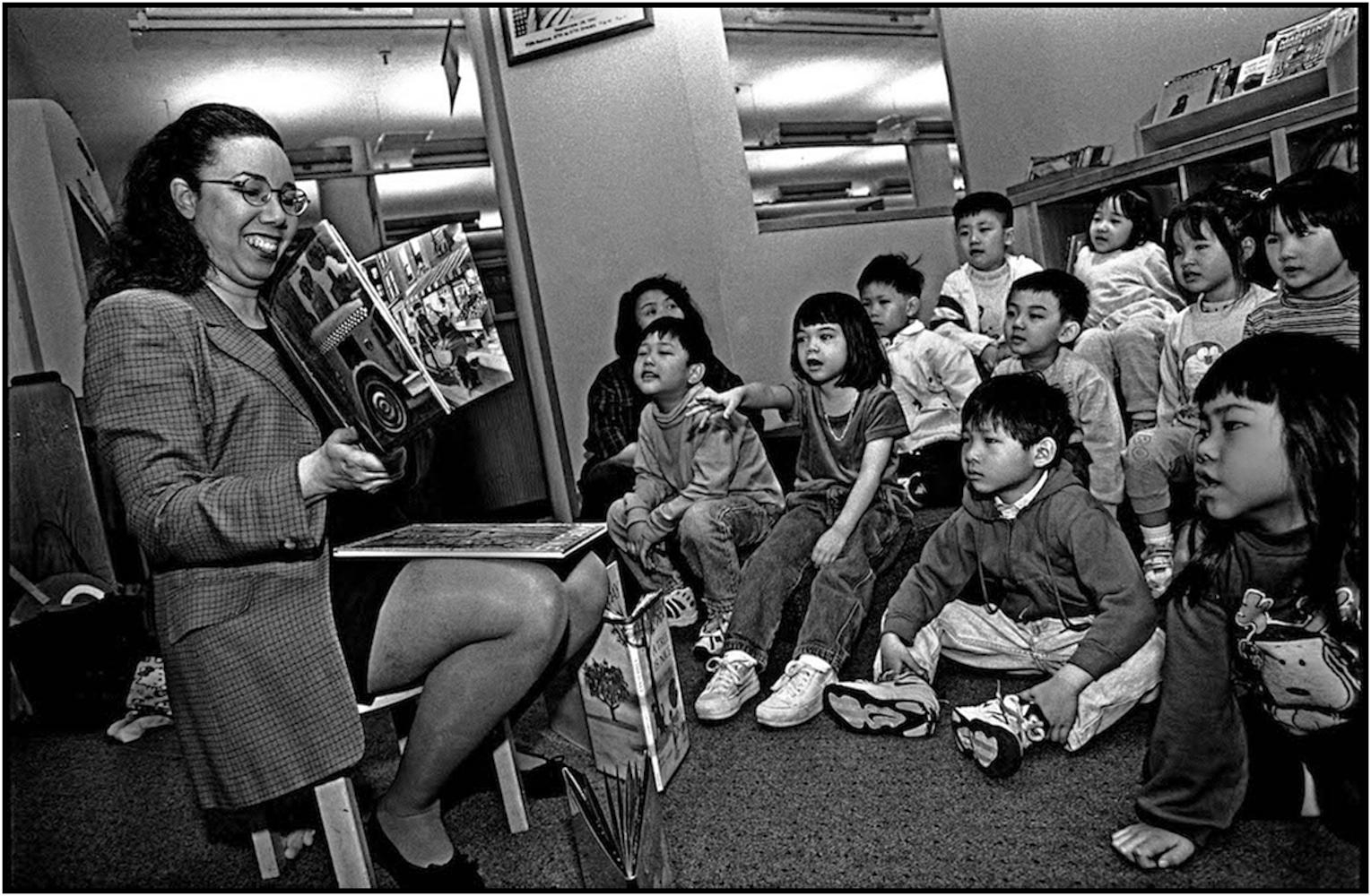 Child librarian, New Amsterdam branch, New York Public Library, Manhattan.