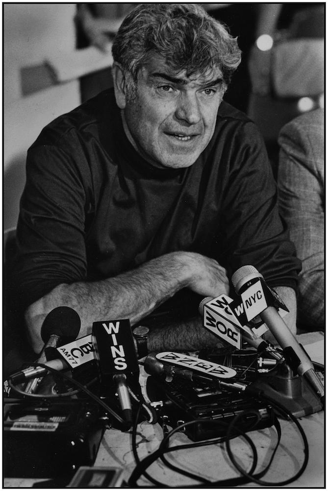 Victor Gotbaum, E.D. District Council 37, AFSCME, Press Conference, NYC, c.1985.