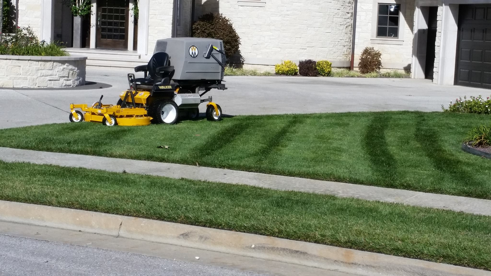 Mowing a beautiful residential lawn in Springfield