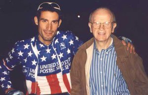 George Hincapie (l) with Mengoni (r) - photo by Marco Quezada