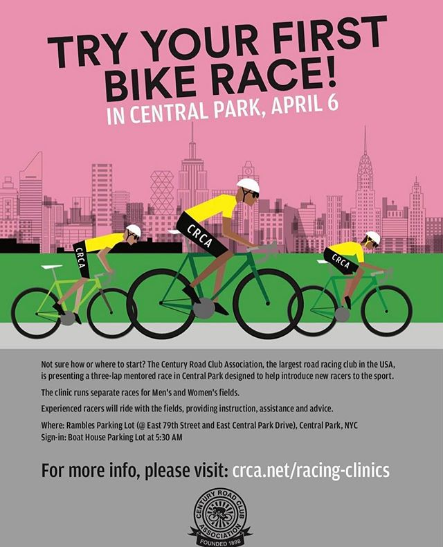 Our first Intro-to-Bike Racing Clinic is Saturday, April 6th! Details can be found at crca.net and register online: https://www.bikereg.com/crca-racing-clinic Tag a friend who should give bike racing a try in Central Park! #unitedcolorsofcrca #usacycling #bikenyc #cyclinglife #crcaracing