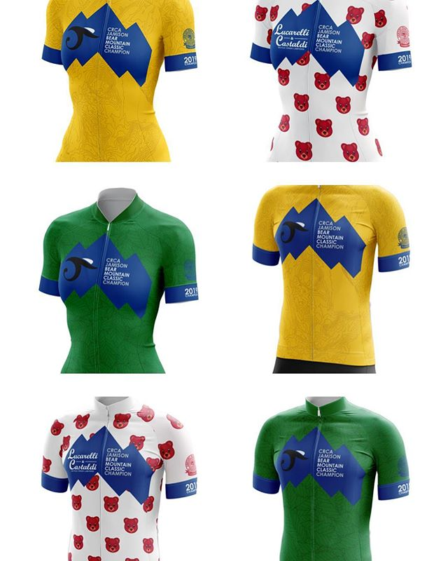 CRCA Jamison Bear Mountain Classic Jersey Reveal! 🐻⛰🚴🏼♂️ ❤️ #lucarelliandcastaldi KOM/QOM 💚 Sprinters Competition 💛 Overall Race Winner  And... FanZone Merchandise for pre-order! Swipe left 👈🏻 to check them out.  Race registration and fan merch all available on bikereg. Read about how these awesome jersey designs came to be in crca.net/news. Link in bio 👆🏻 Thanks to CRCA member @lcdcustomcreative for bringing these to life and being such a pleasure to work with 💪🏻 #unitedcolorsofcrca #bikenyc #crcaracing #bearmountainclassic