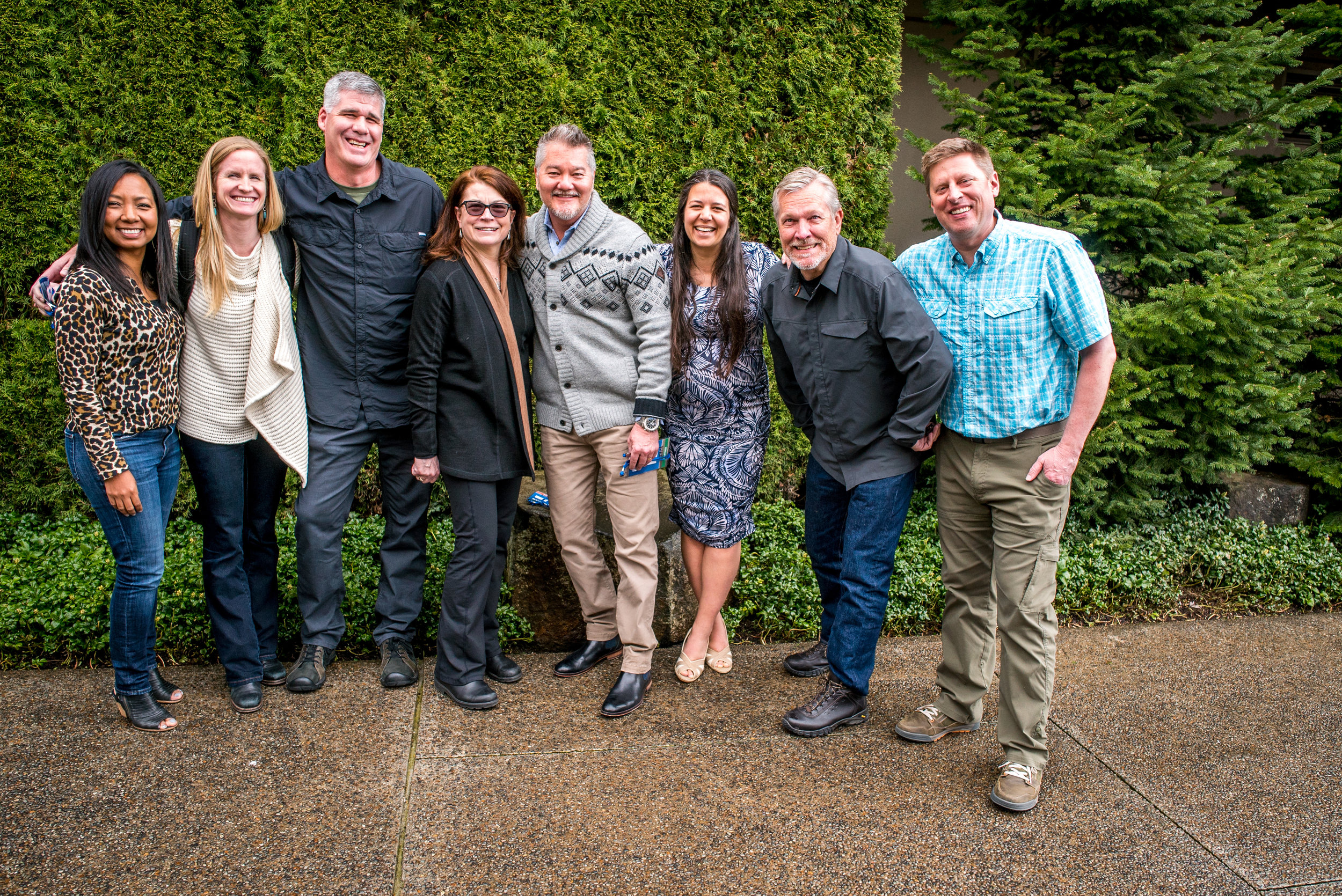 ATCF Board of Directors at Adventure Elevate, Idaho (April 2017). From left to right: Chunnie Wright, Josie Norris, Richard Edwards, Cynthia Dunbar, Roger Spatz, Soraya Shattuck, Steve Barker, Shannon Stowell