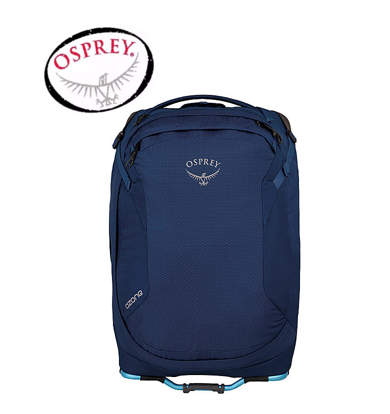 Osprey Wheeled Travel Pack - This wheeled Buoyant Blue Unisex Carry-On Travel Pack is light and easy to take anywhere. This travel pack hits most US carry-on requirements and includes everything you need to stay organized, move swiftly wherever you go and roll confidently over challenging surfaces. Ozone 21.5 UltralightRetail: $230Donated by: Osprey Packs
