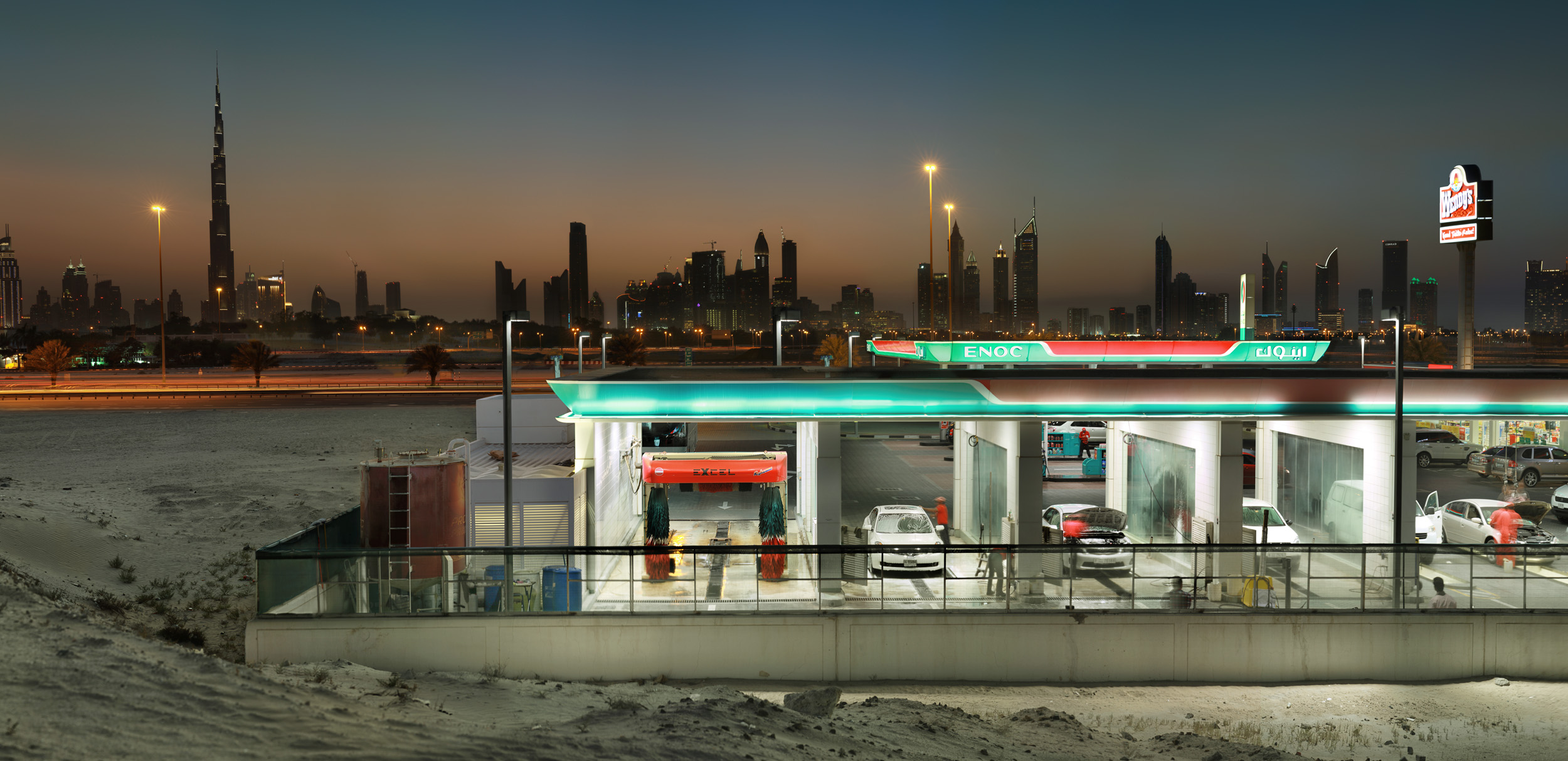 Gas Station at Dusk - Dubai, UAE 2013