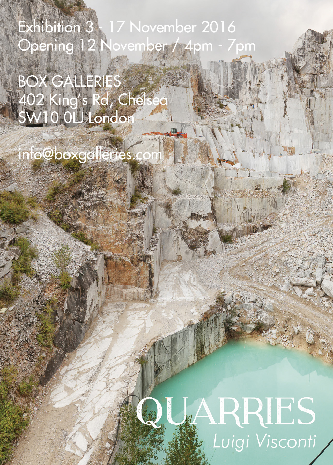 Marble quarries Photographies - White Silence at Box Galleries in Chelsea, London