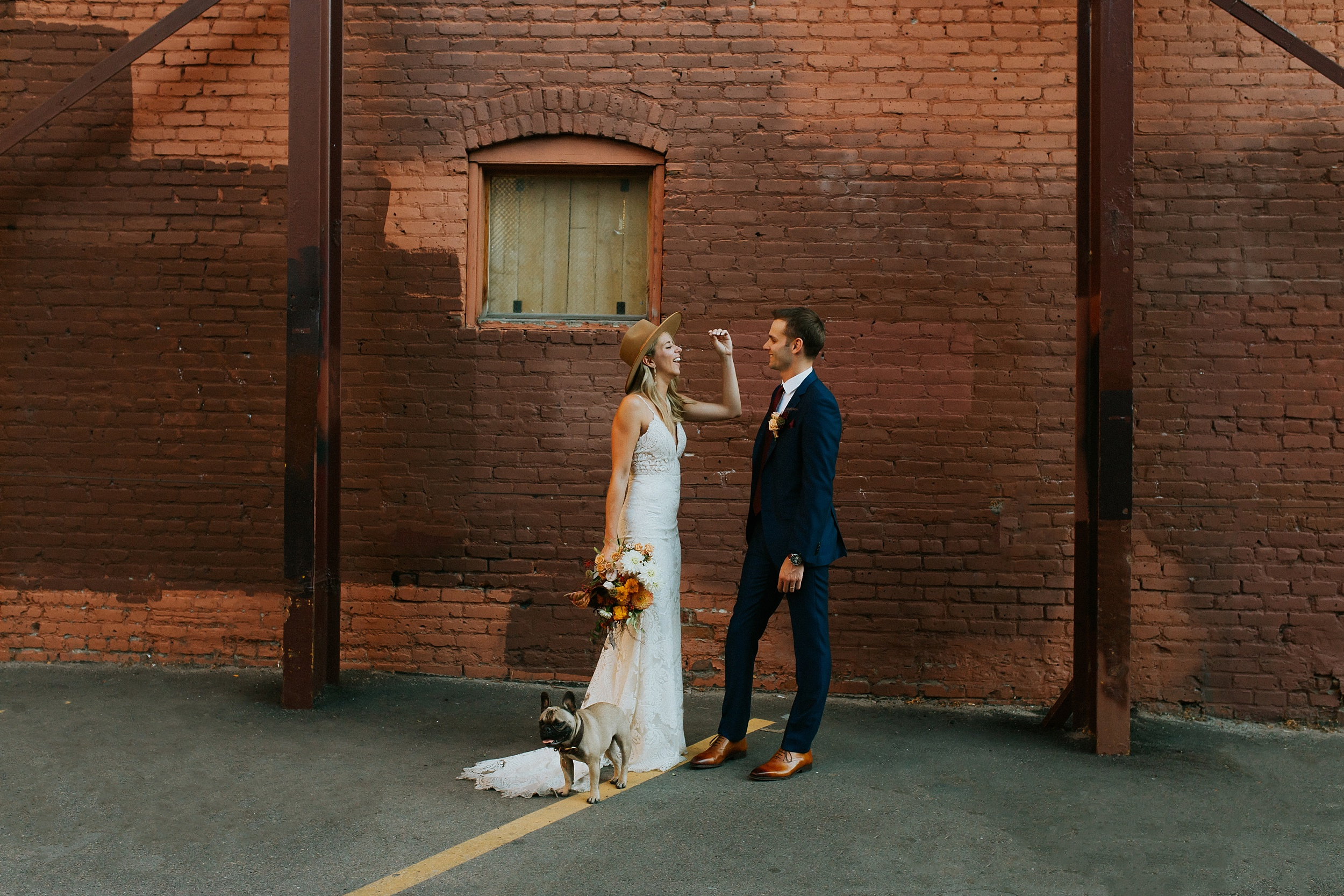 Bride and groom bring their frenchie dog for elopement in downtown denver!