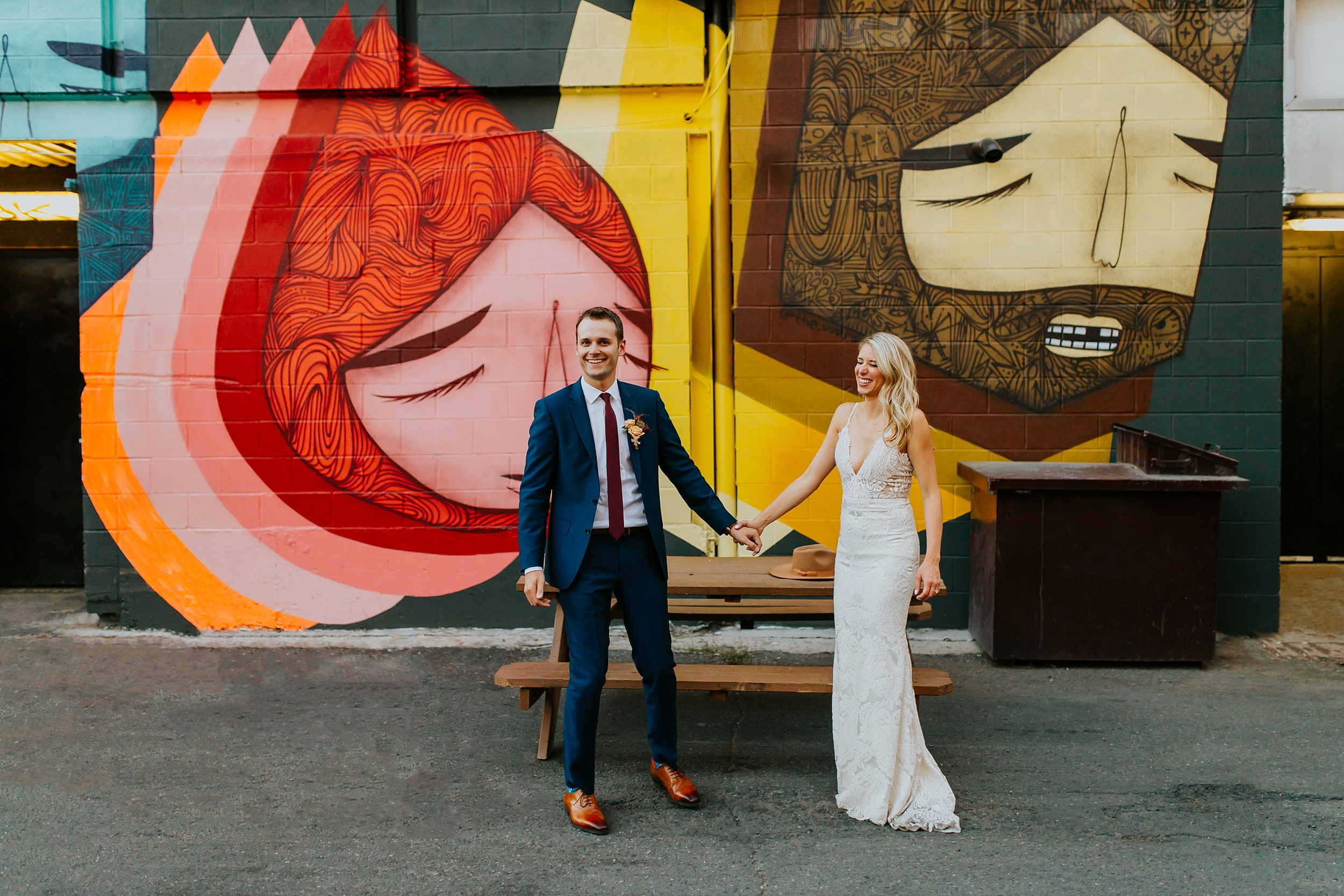 Bride and groom's elopement in the city with street murals!