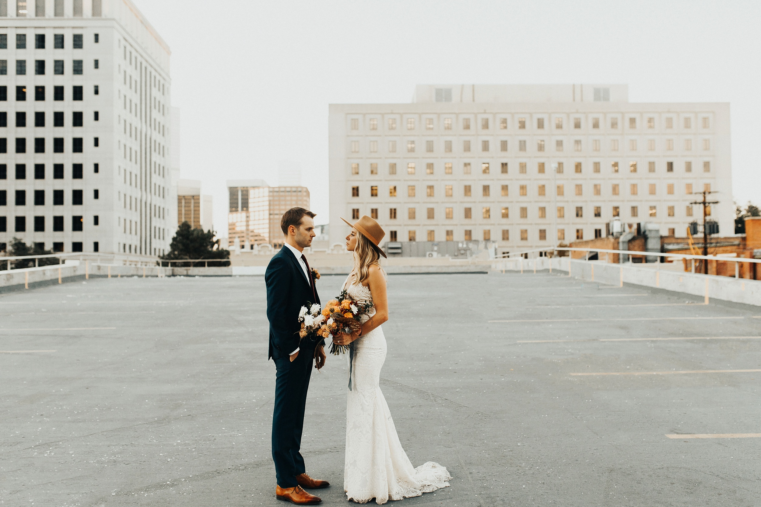 Bride and groom's rooftop elopement in downtown denver!
