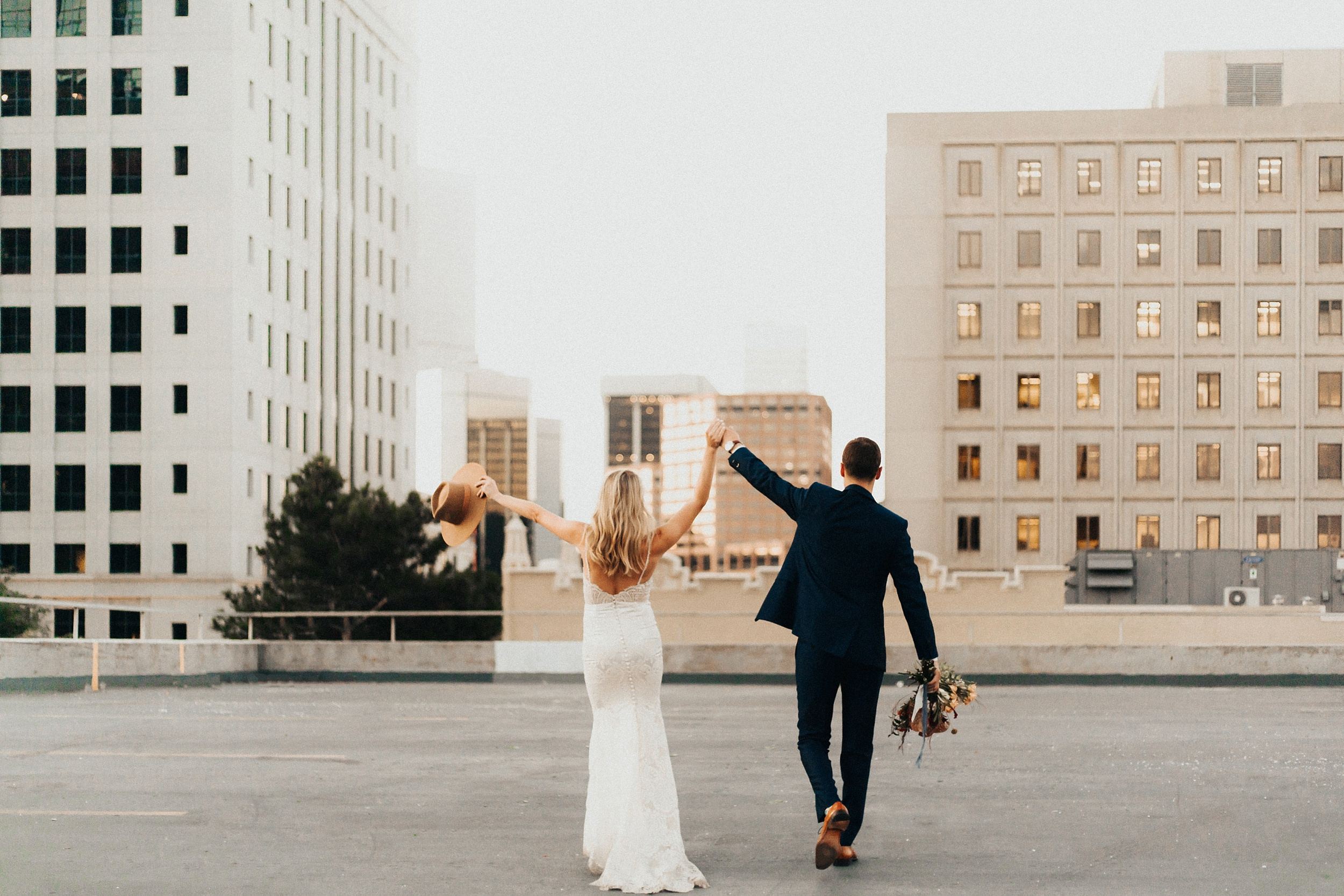 Bride and groom's rooftop elopement in downtown denver colorado.