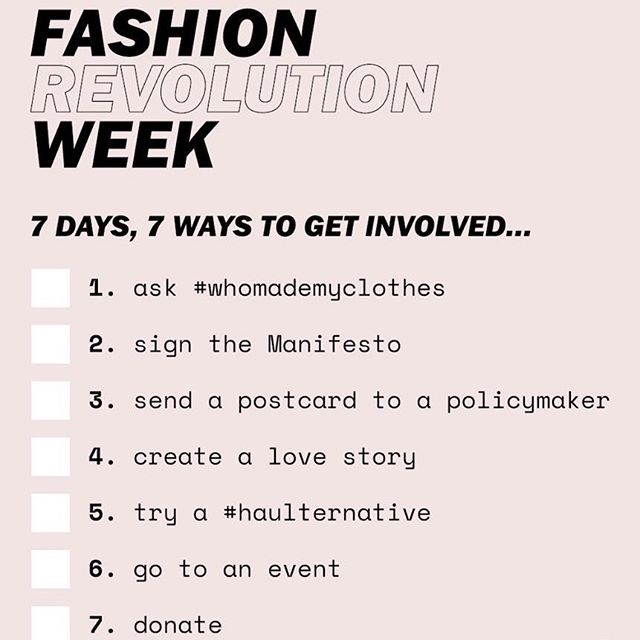 Today marks the beginning of @fash_rev week and is also Earth Day. Do your part, get involved and get inspired to make a change...in your wardrobe, with your shopping habits, to the lives of the people who made your clothes #fashionrevolution
