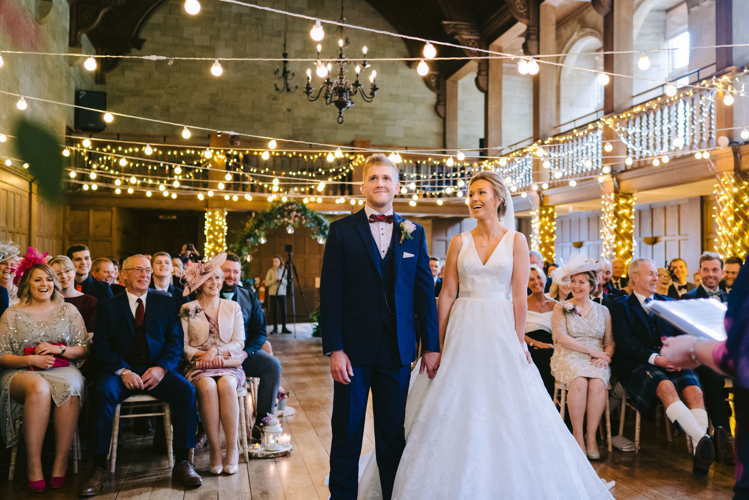 Suzanne Neville For A Fun Filled Scottish Castle Wedding With Festoon Lighting