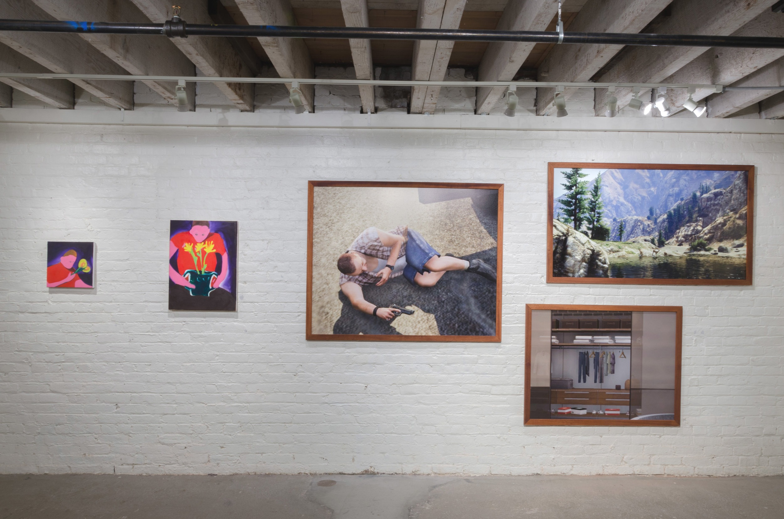 Installation View from OPEN SPACE at Founders Gallery   (from left to right)  Mindless01 , Dadesiboy69 ,  Odins_wisdom , San Rafael, 2019