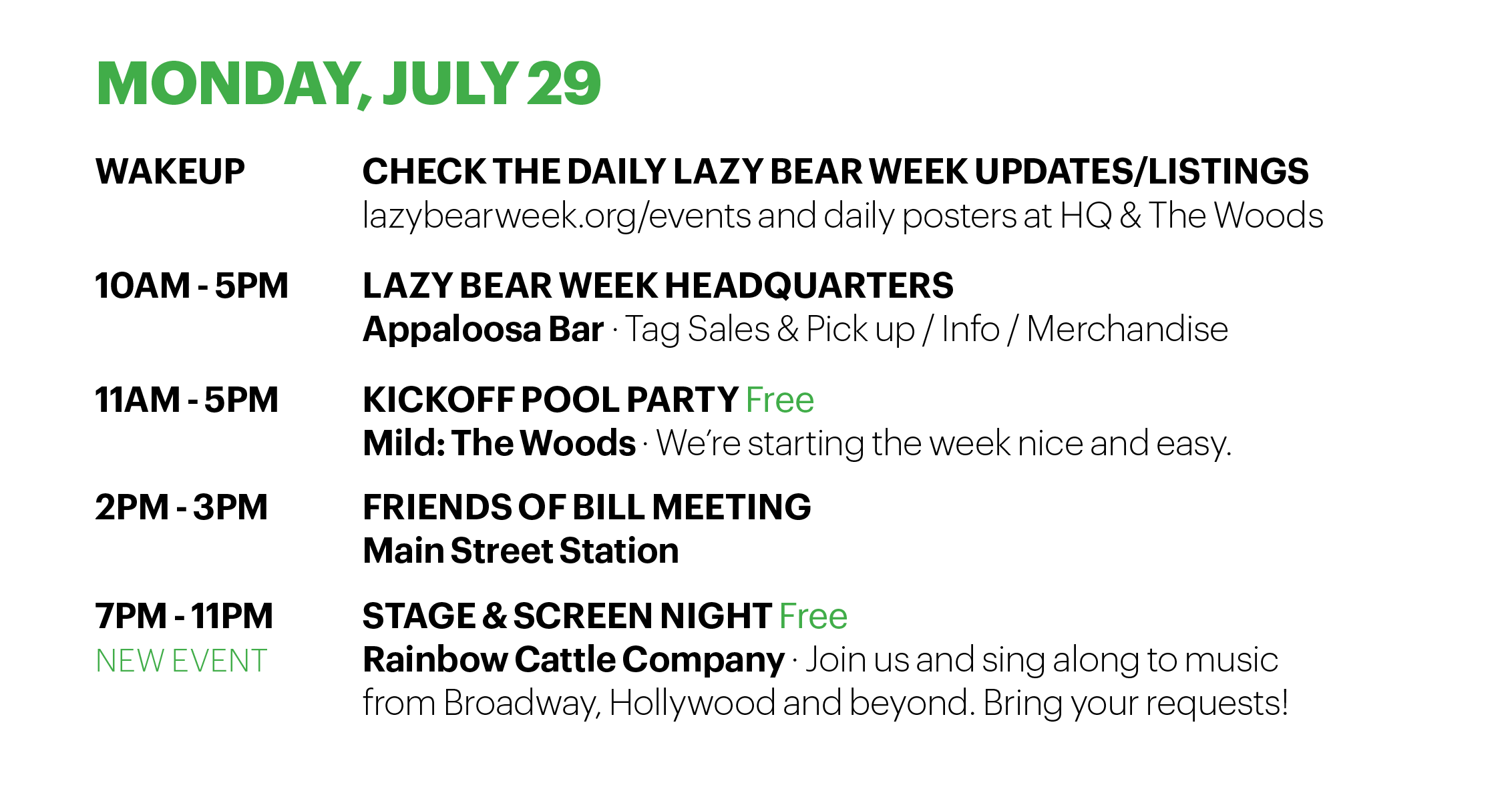 Monday schedule lazy bear week 2019