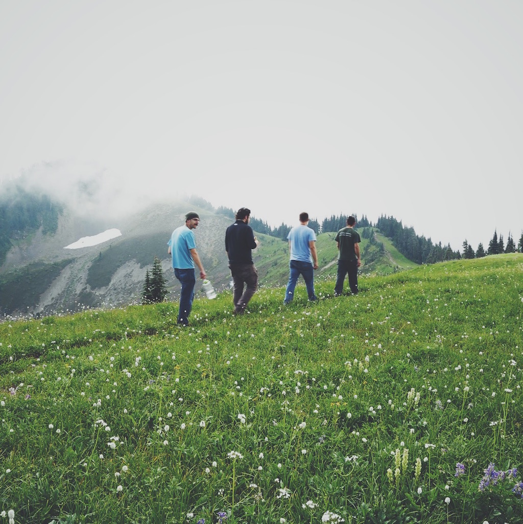 The crew scouts the first location on Skyline Divide.
