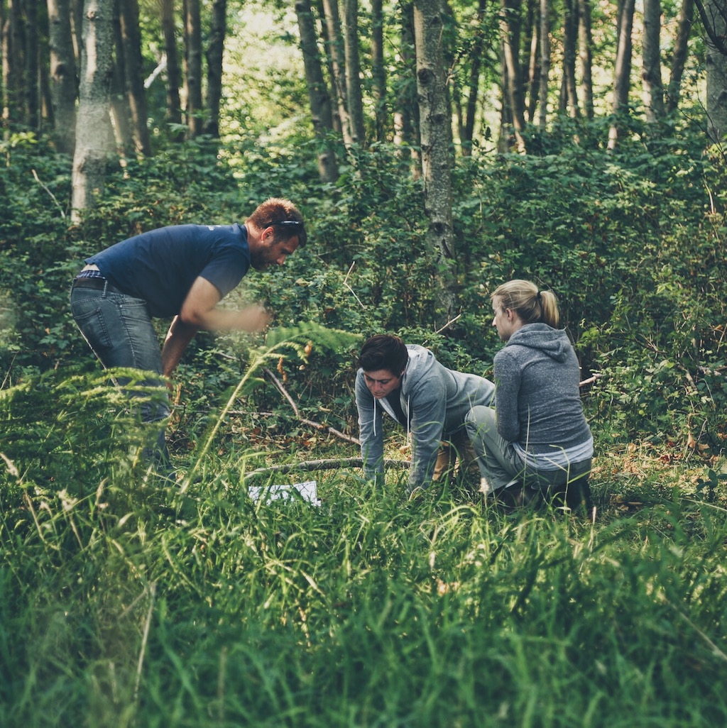 Director and actors run through lines in the shade.