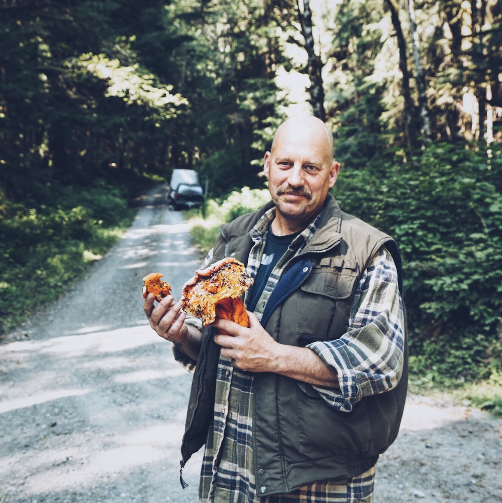 In between major set-ups, our Hunter, Kirk A Hayes, went hunting for mushrooms. He found an amazing Lobster mushroom.