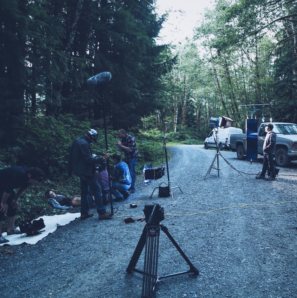 Prepping for the last shot of the film.
