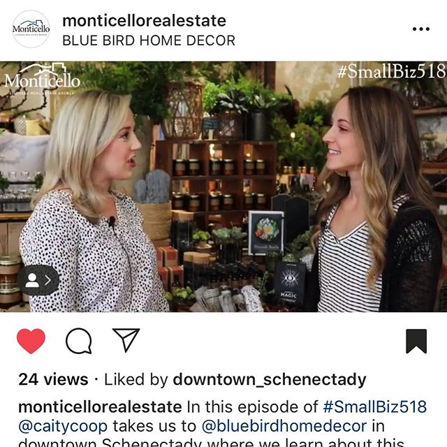 You guys!! Our friends over at @monticellorealestate featured us for this months #smallbiz518. I can't say enough how wonderful they were to work with, go check them out and keep them in mind for any of your real estate needs 😉 #bluebirdhomedecor #bluebirdlifestyle #schenectady #discoverschenectady #schenectadydoesntsuck #teammonticello