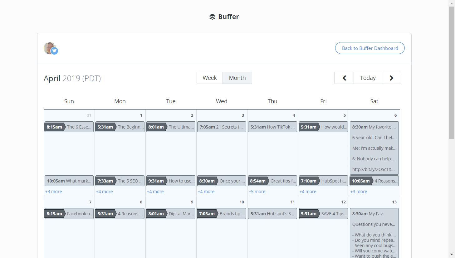 Buffer Weekly Content Calendar