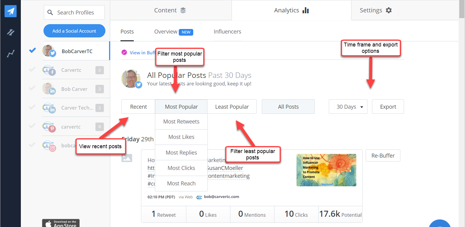 Buffer Publish Analytics Posts