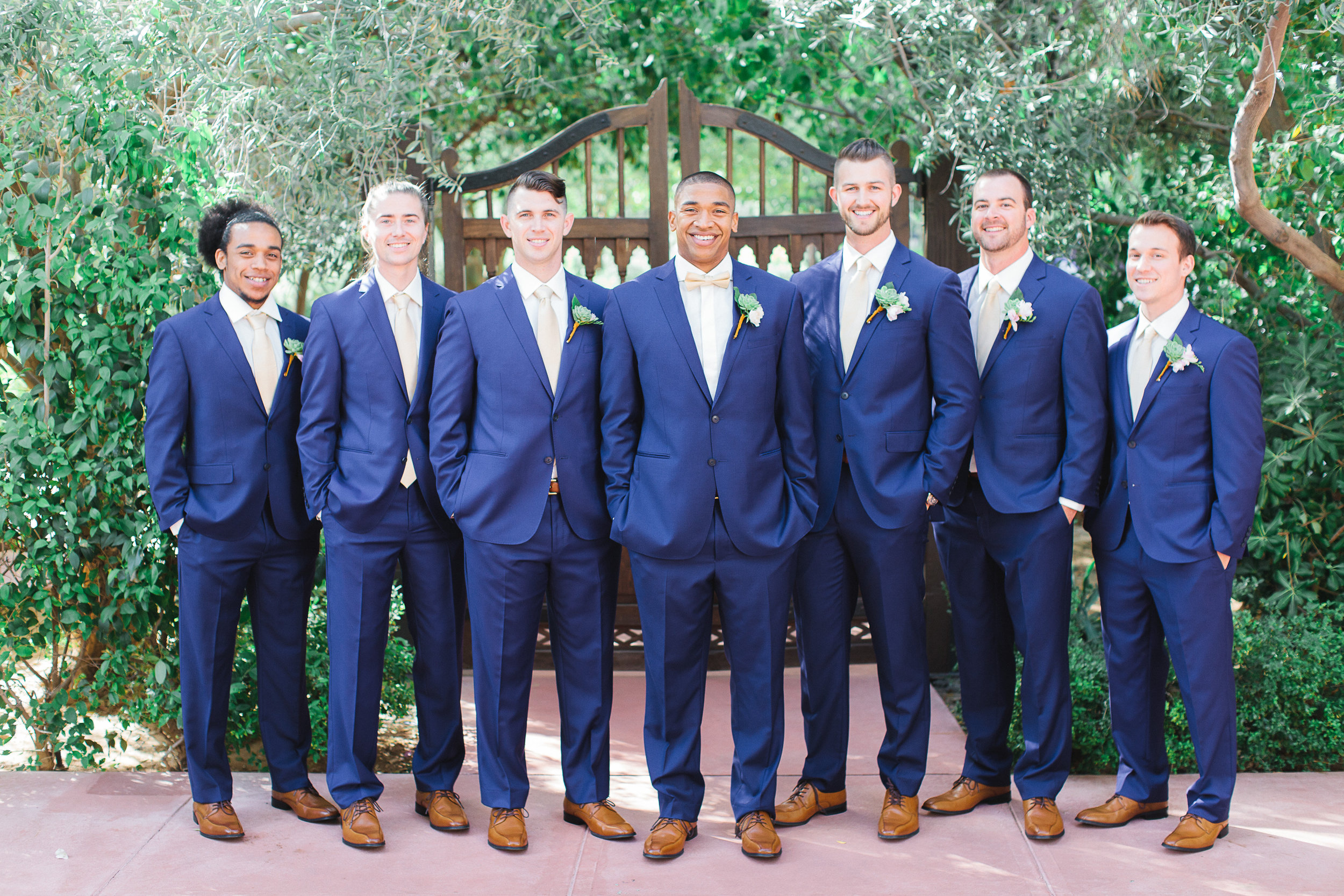 groom groomsmen blue suit groom wedding party brown shoes with blue suits el chorro wedding paradise valley arizona Grey Key Events photos by Andrew Jade Photography.jpg