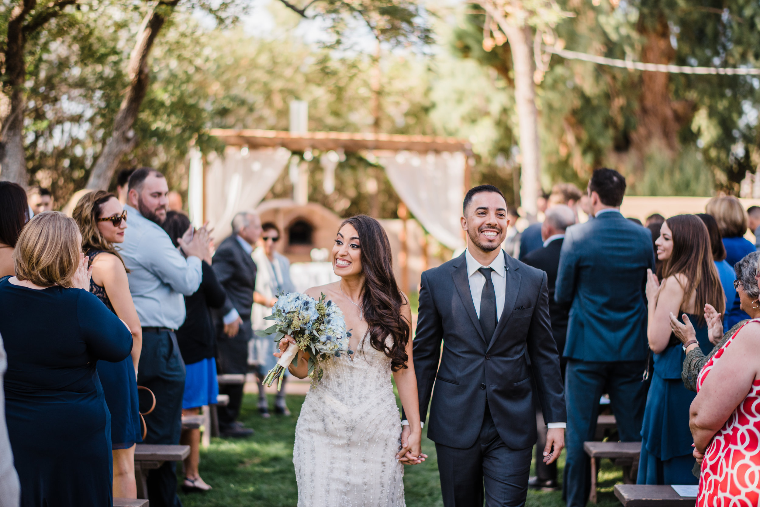 bride groom walk down aisle bride groom just married farm wedding outdoor wedding happy bride and groom Grey Key Events photo by Josh Snyder Photography.JPG