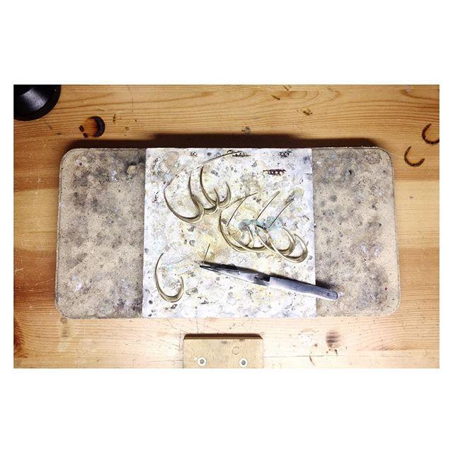Swoop Hoops in production. • • • #benchjeweler #jewelrymaking #madeinbrooklyn #shoplocal #madeinnyc #makersgonnamake #makermovement #hoops #hoopearrings #earrings #madebyhand #soldering #inproduction