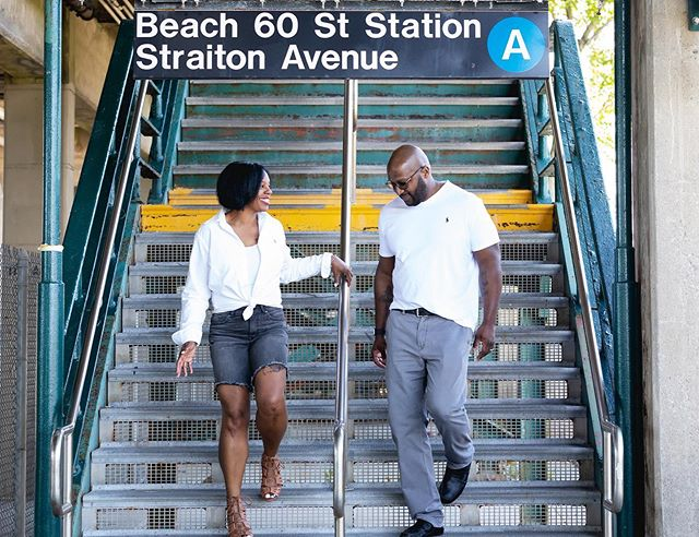 NYC SUBWAY LOVE:  We met and fell in love at our train station.  Happy Anniversary Sharon & Leon  What's your love story?  #coupleportraits #nycportraits raoulbrown #raoulbrownphotography #framedbyraoul #nyclovestory #lovestory #nycsubwaylovestory #happyanniversary #farrockaway #farrockawaybeach #farrockawayqueens