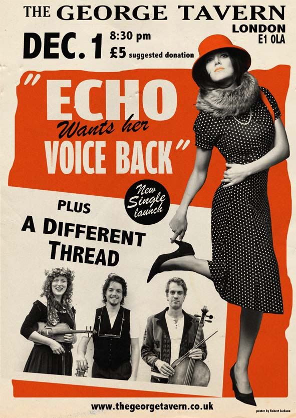 """With a name longer than ours, """"Echo Wants her Voice Back""""is launching a new single featuring our very own Isaac on cello!    Facebook event page"""