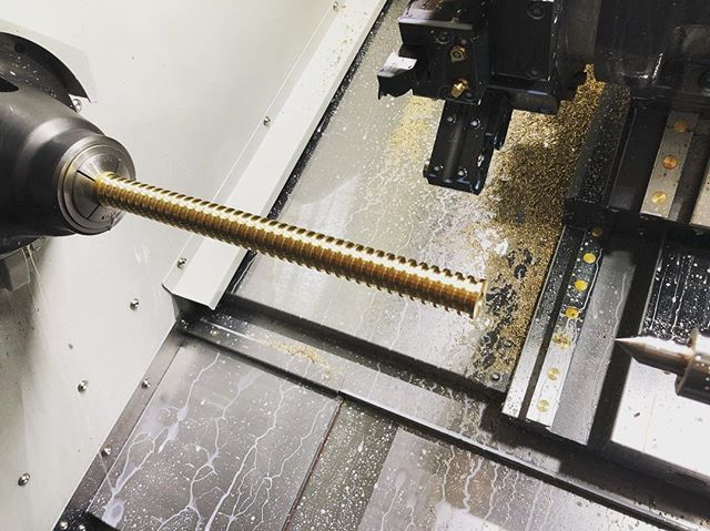 Turning a long part on the Doosan today.  #instamachinist #doosanshop #cncmachining #customhardware #cncporn
