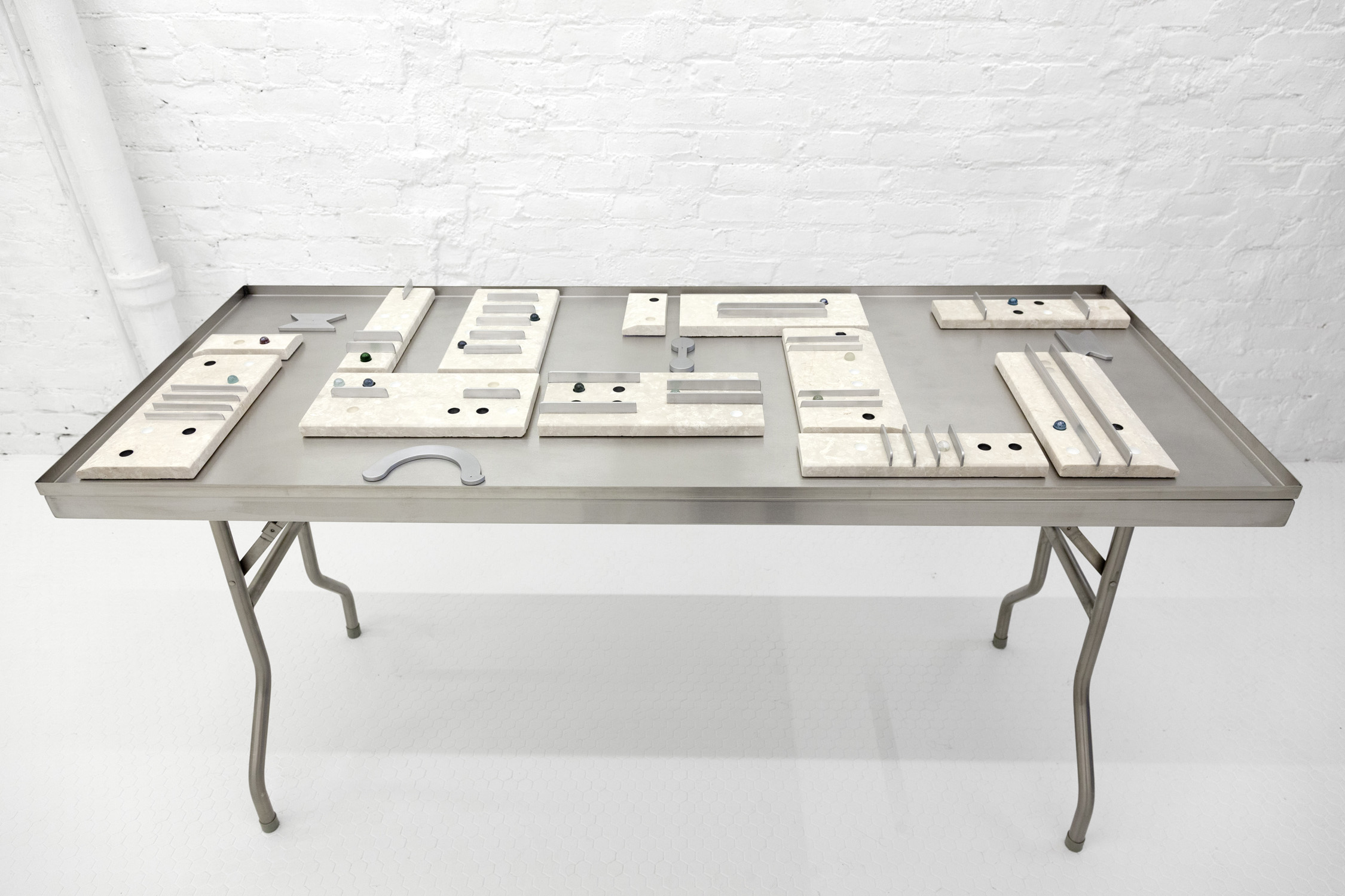 """""""Game Tablet"""" 1-13  Sizes: 1. 12"""" x 5.75"""" x 2"""" 2. 12"""" x 3"""" x 2"""" 3. 5.75"""" x 3"""" x 1"""" Crema marble, aluminum, glass marbles 2019"""