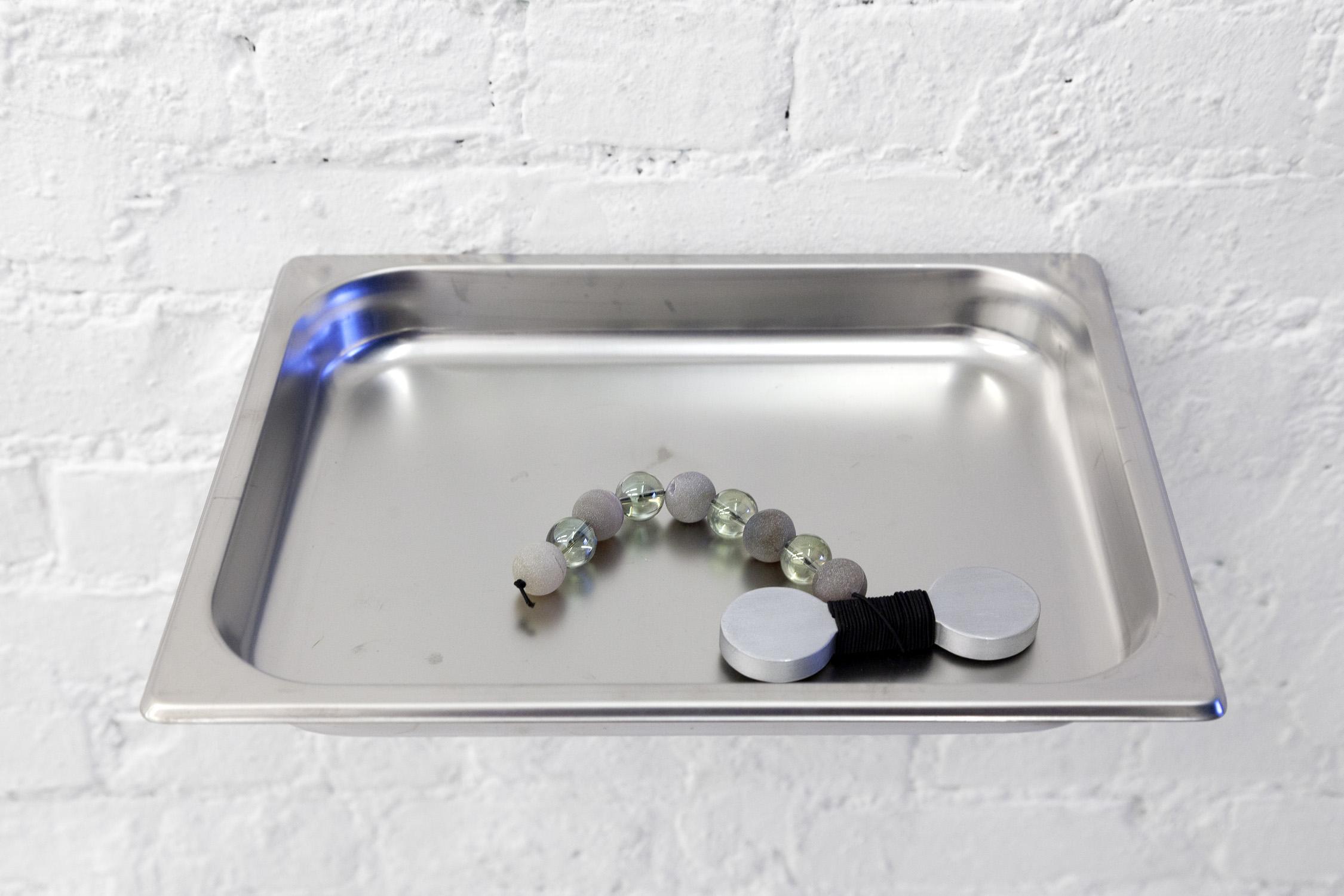 """Game Tray""  24"" x 60"" x 32"" Aluminum tray, aluminum table, marble slabs, glass marbles, aluminum 2019"
