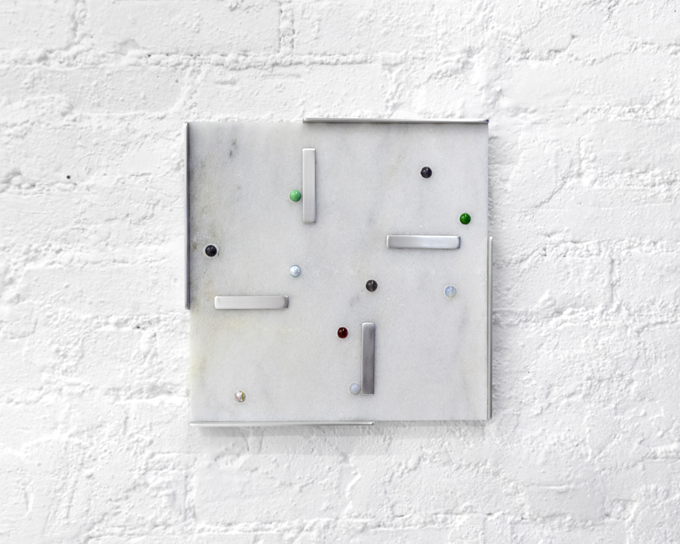 """""""Marble with Marbles"""" #5  12""""x12"""" Carrara marble tile, marbles, glass beads, glass marbles, aluminum 2018"""