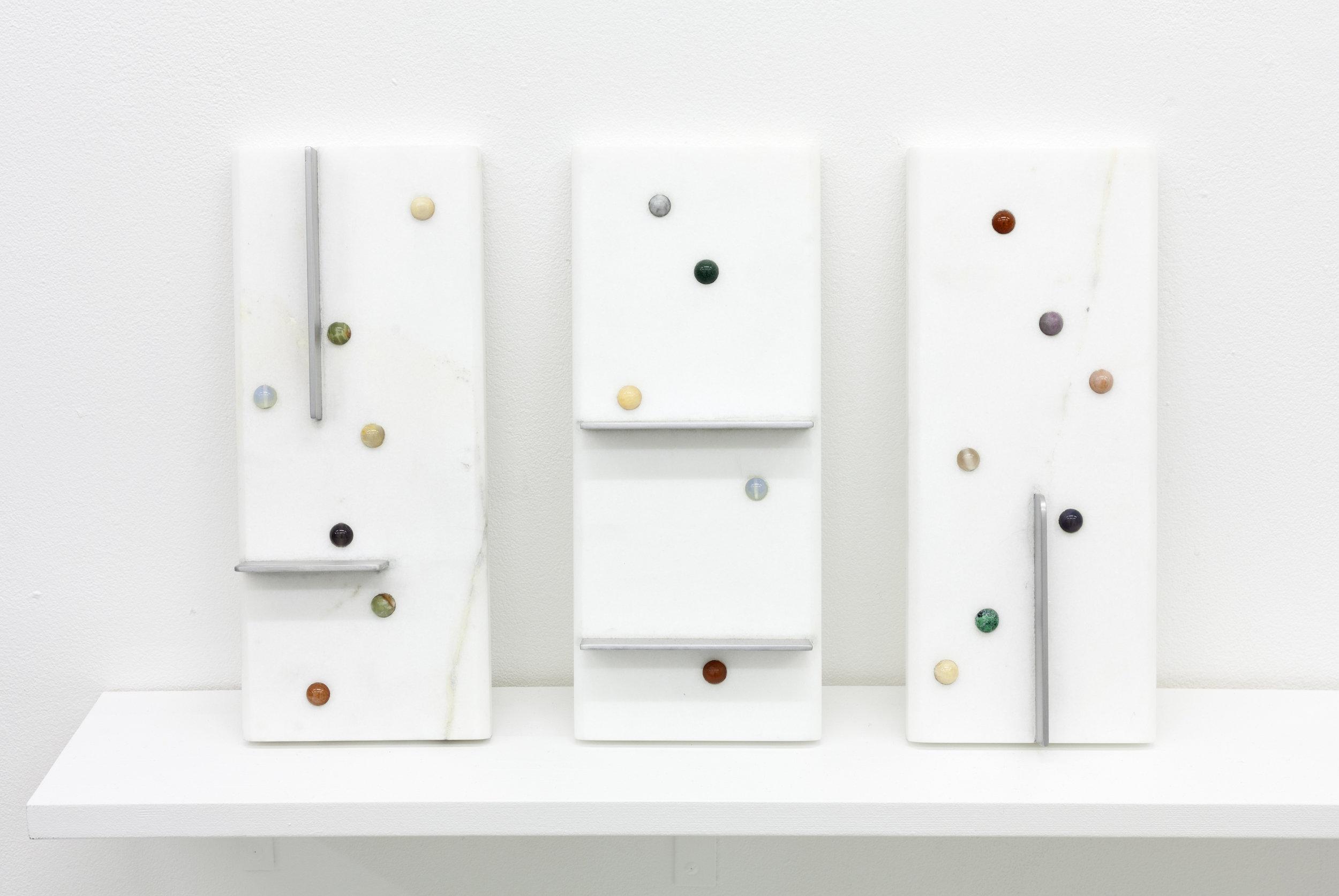"""Marble Run Tablet"" (1, 2, 3)  5"" x 12"" x .75"" White Carrara marble, glass beads, marble, aluminum 2018"