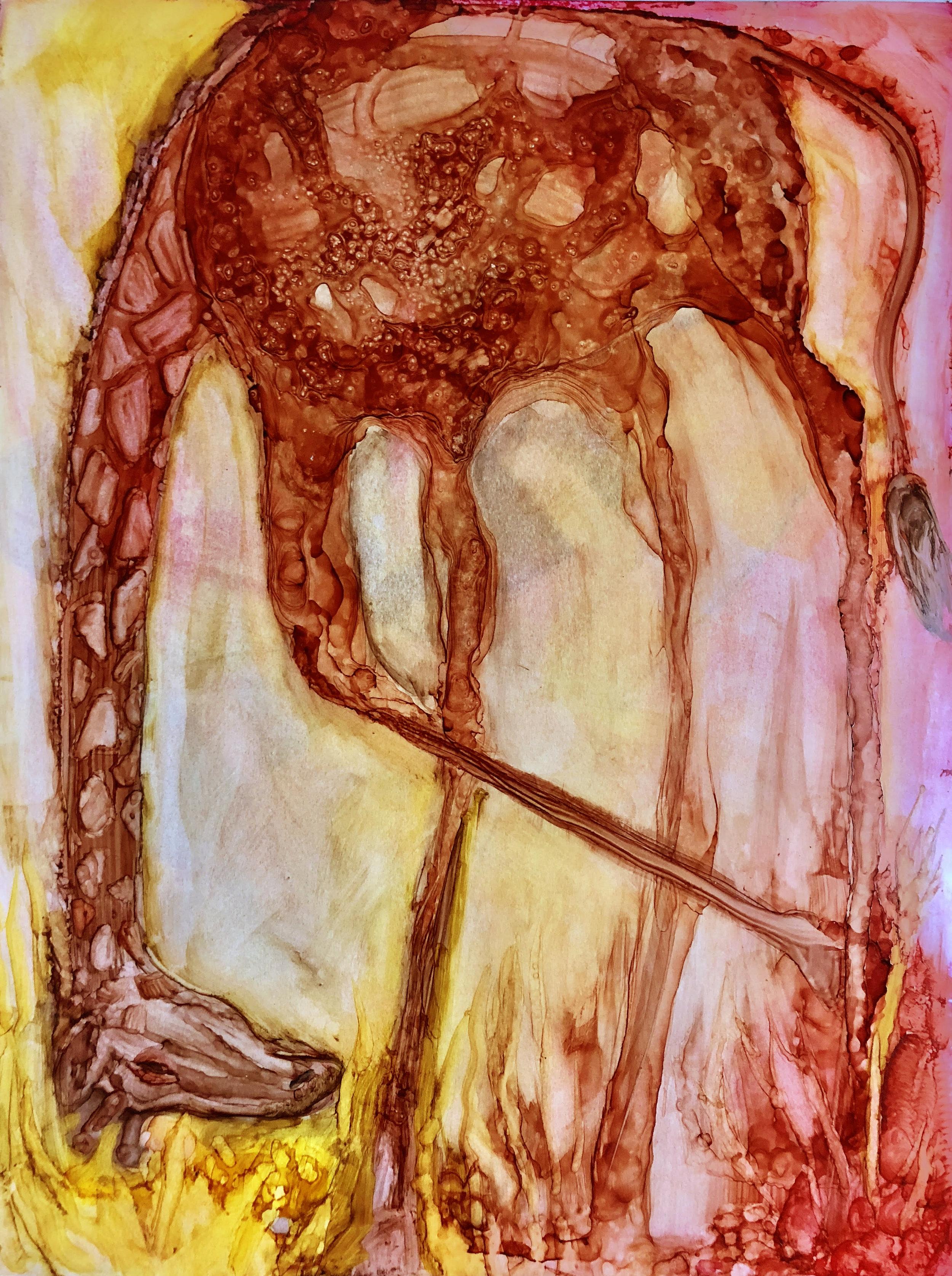 Bahar Sabsevari, زرافهی سر به زیر , Ink on paper, 9 x12 inches, 2018