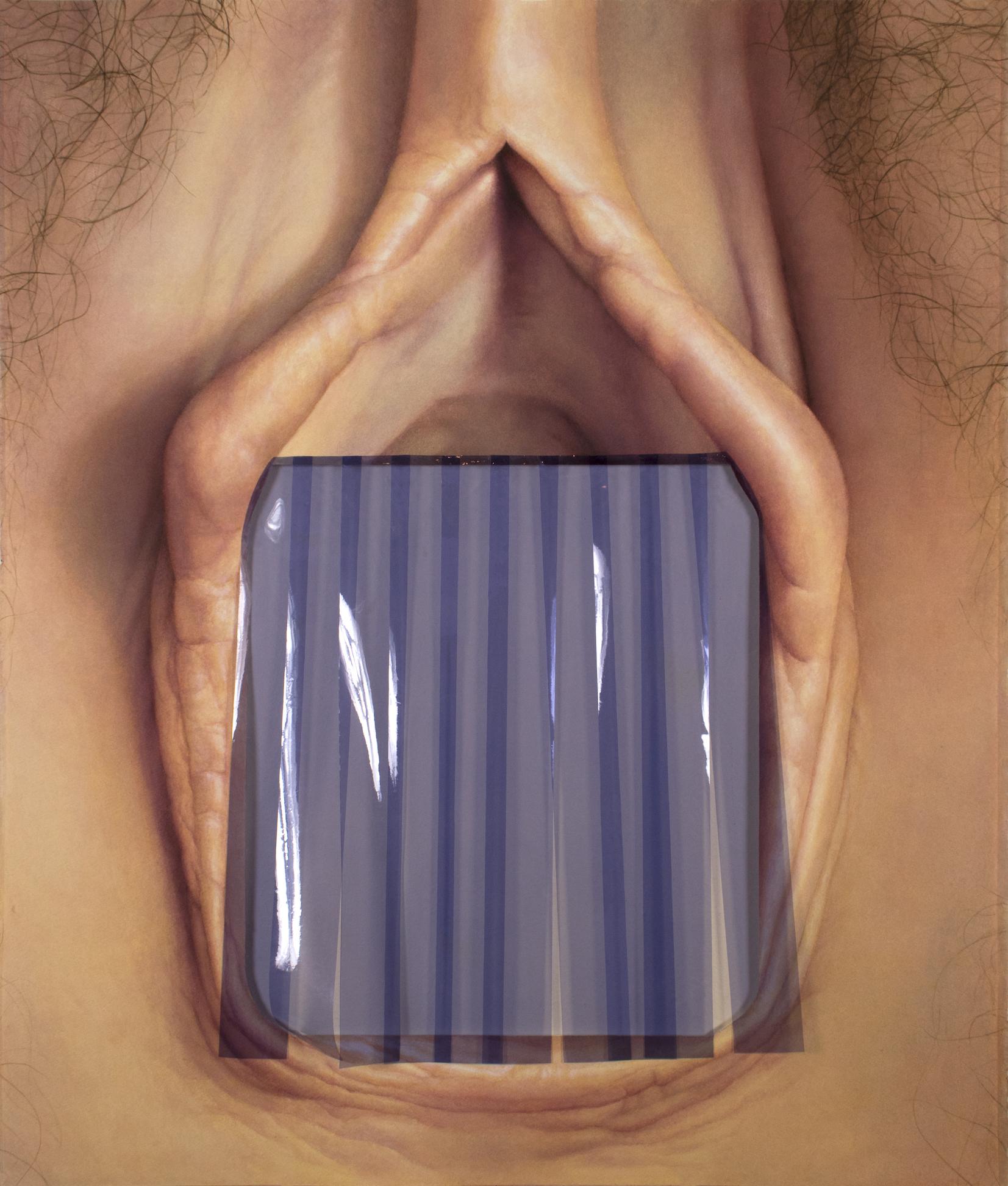 {strip door, vagina}, watercolor and plastic on paper, 2018