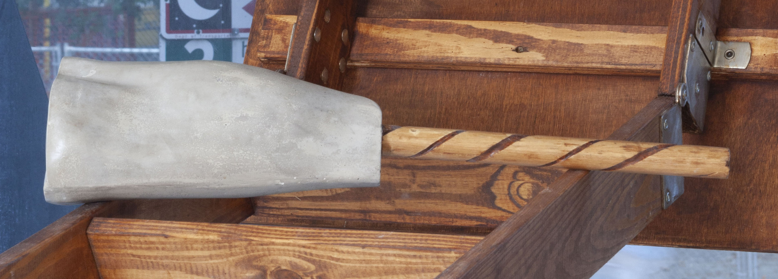 Half Limb 2, Cement, Plaster, Wood Cane 2019