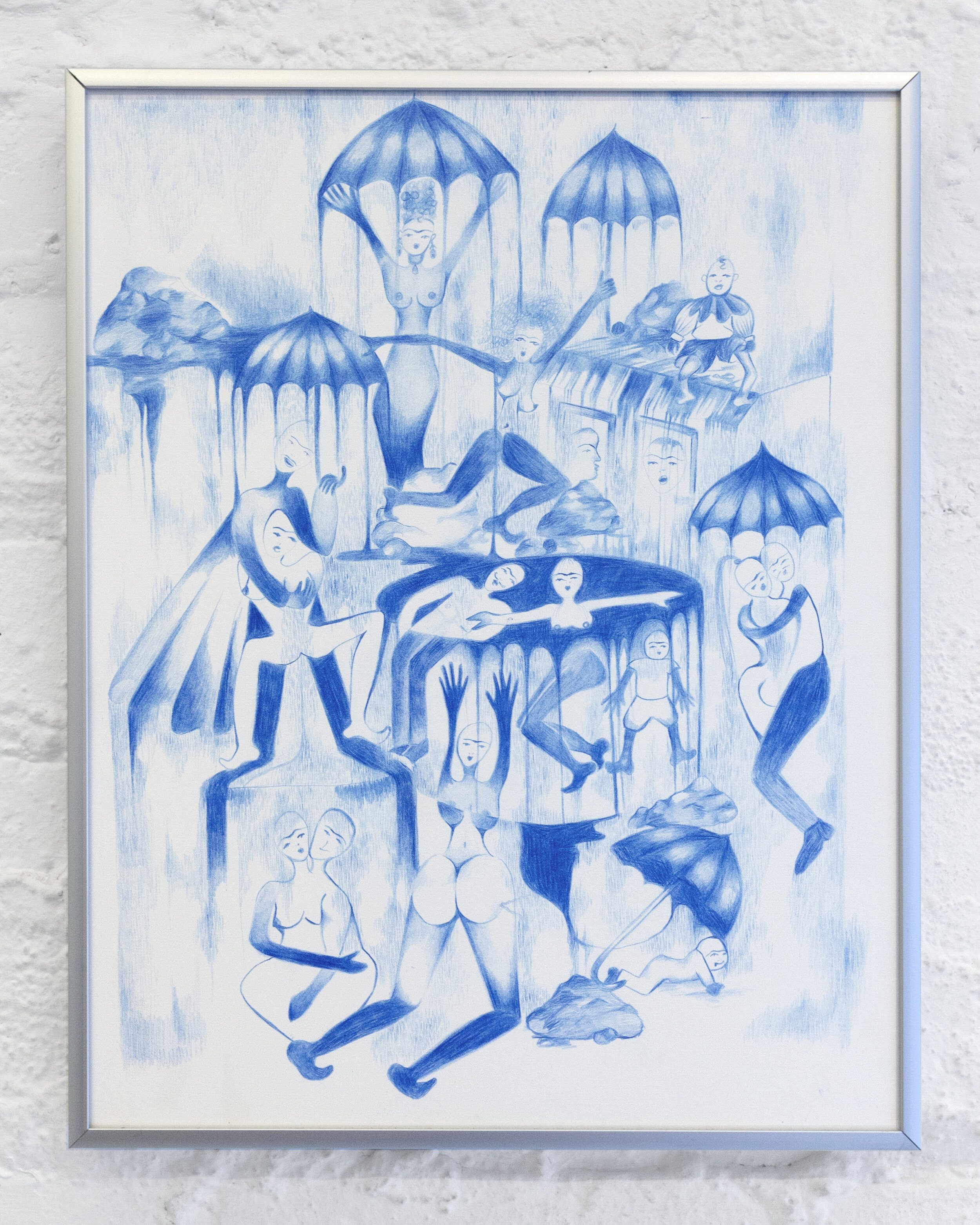 Puddles of Blue, 2019. Pencil on paper, 11 inches x 14 inches.